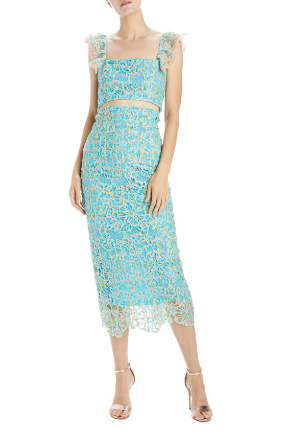 Orchid Mirage Printed Guipure Lace Pencil Skirt