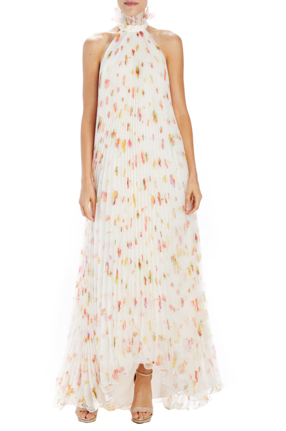 Floating floral pleated sleevless gown