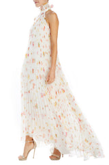 Monique Lhuillier pleated floral gown
