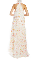 Monique Lhuillier floating floral pleated gown
