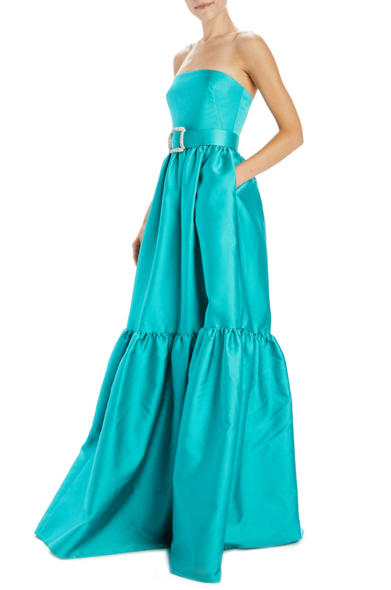 Spring 20 strapless gown with belt and pockets