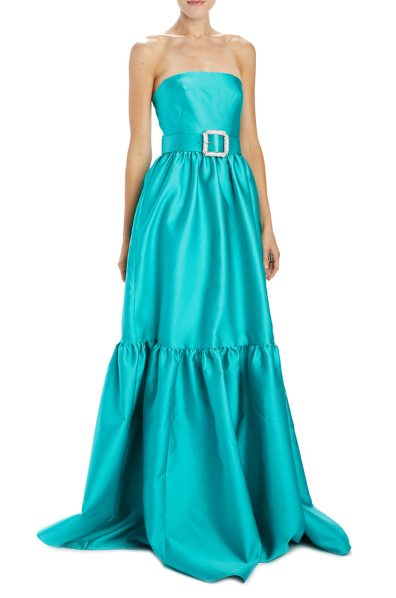 Monique Lhuillier Sateen Strapless gown with belt
