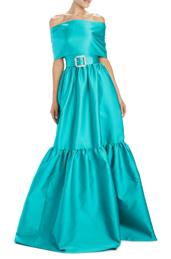 strapless teal evening gown with belt and self wrap
