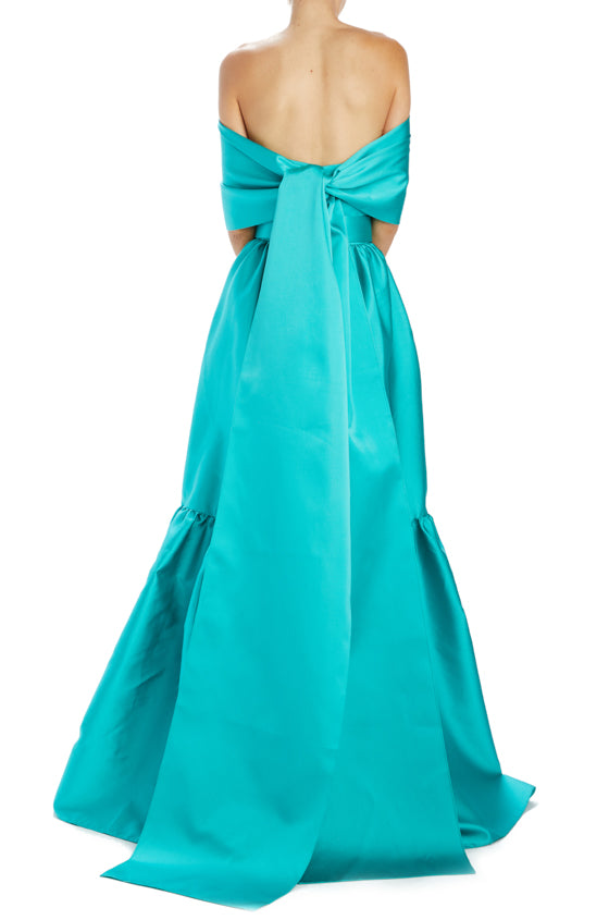 strapless gown with belt, wide ruffle hem and self wrap