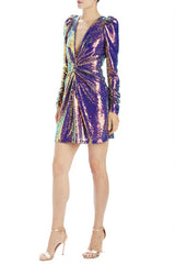 V-neck sequin mini dress