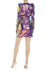 Iridescent long sleeve v-neck mini dress