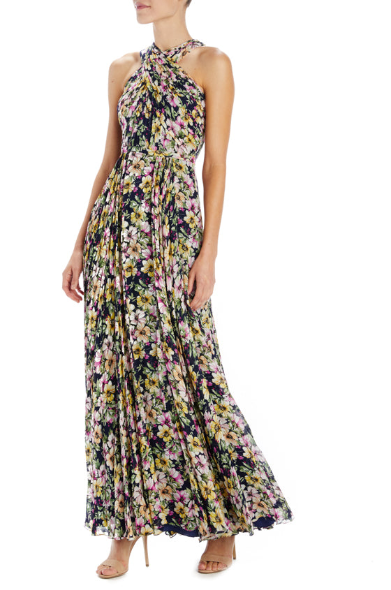Floral Printed Halter Maxi Gown