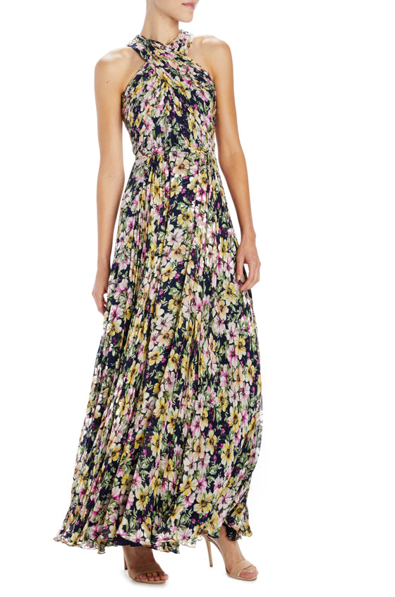 Floral Halter Gown ML Monique Lhuillier