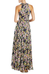ML Monique Lhuillier Floral Gown With Halter Neck