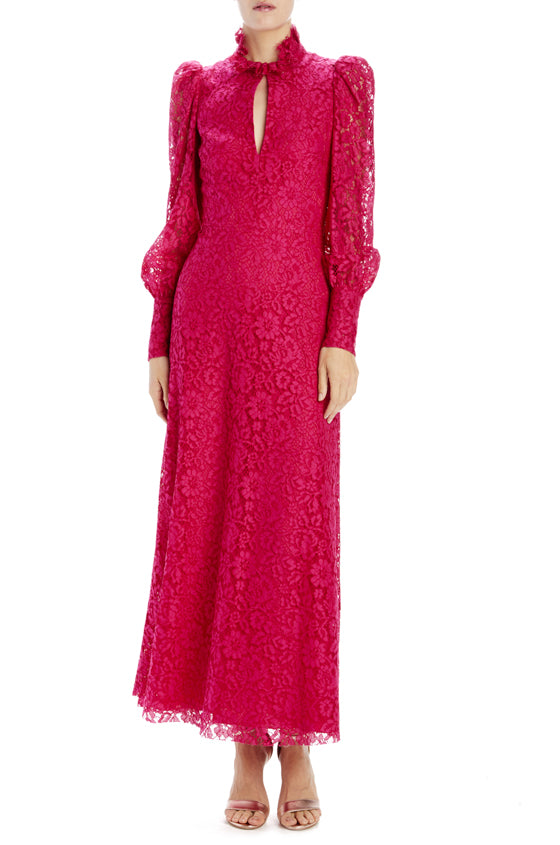 long sleeve lace dress fuchsia