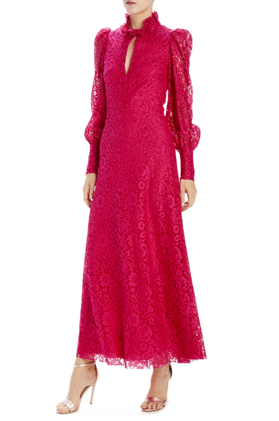 Monique lhuillier floral lace long sleeve dress