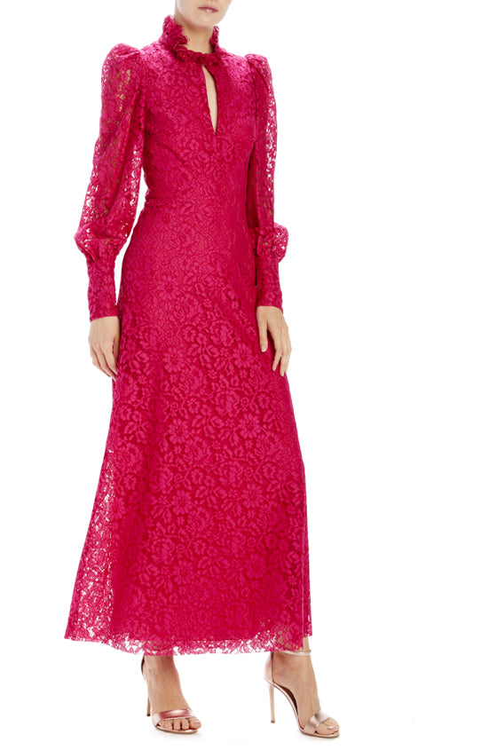 long sleeve floral lace dress with keyhole and ruffle neckline