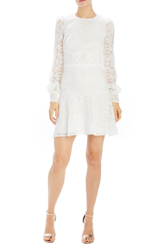 Silk white guipure lace long sleeve dress