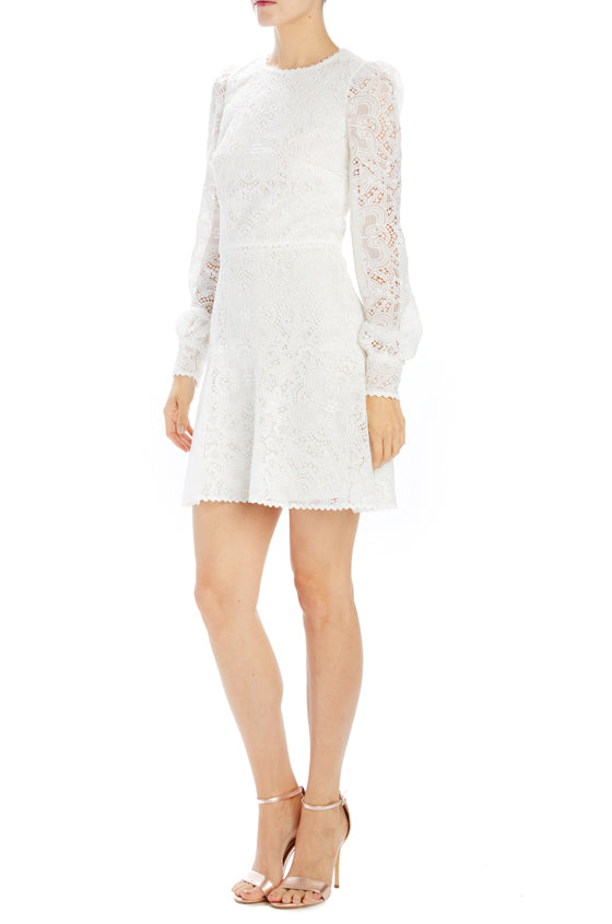 White lace bridal cocktail dress long sleeve