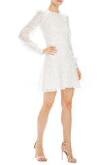 Long sleeve white lace dress with flair skirt