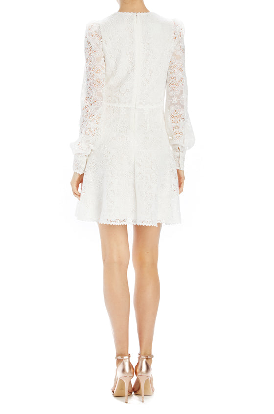 long sleeve lace dress with flair skirt Spring 2020