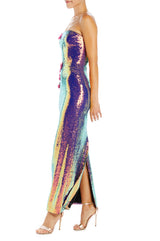 Holographic sequin column gown with embroidery