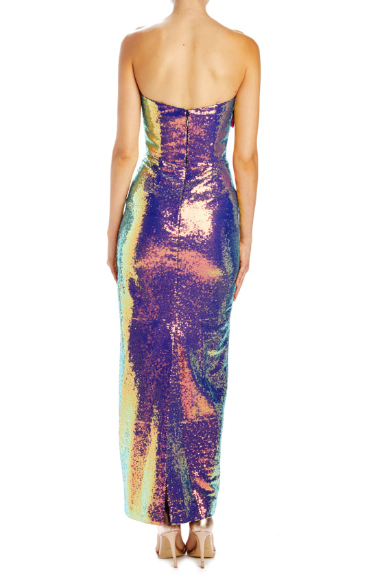 strapless column tea length gown sequin