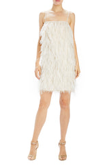 Monique Lhuillier feather cocktail dress