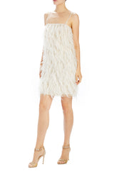 Holiday cocktail dress with feathers