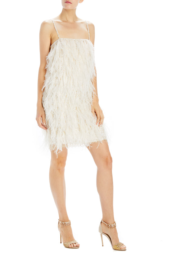 mini feather shift dress
