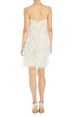 Ivory holiday feather shift dress