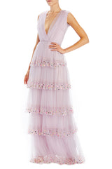 Gathered bodice gown with tiered skirt