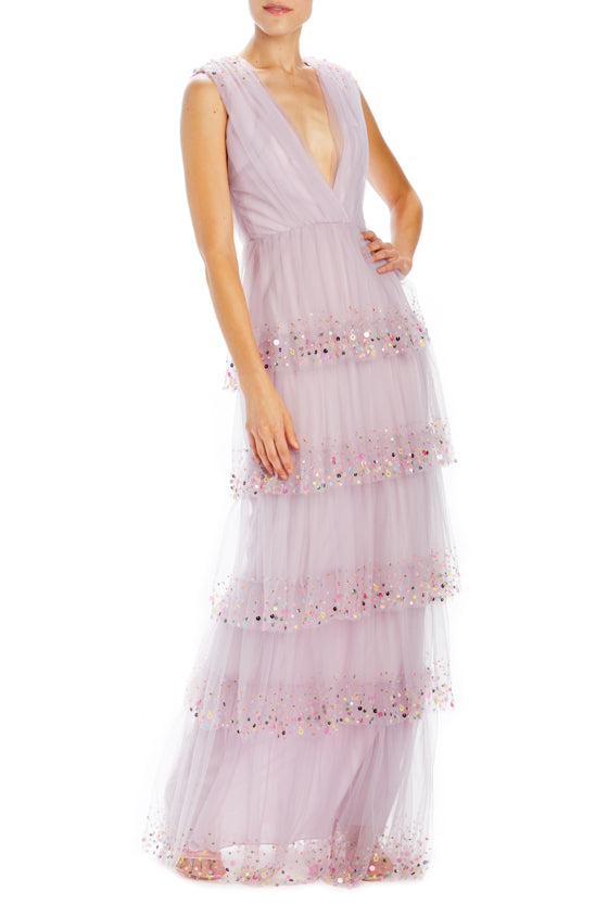 Embroidered tulle evening gown Monique Lhuillier
