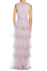 Lavender gathered bodice gown with tiered skirt ML