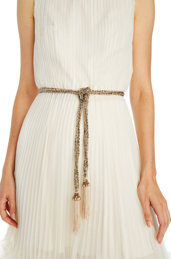 gold and silver beaded belt with tassels