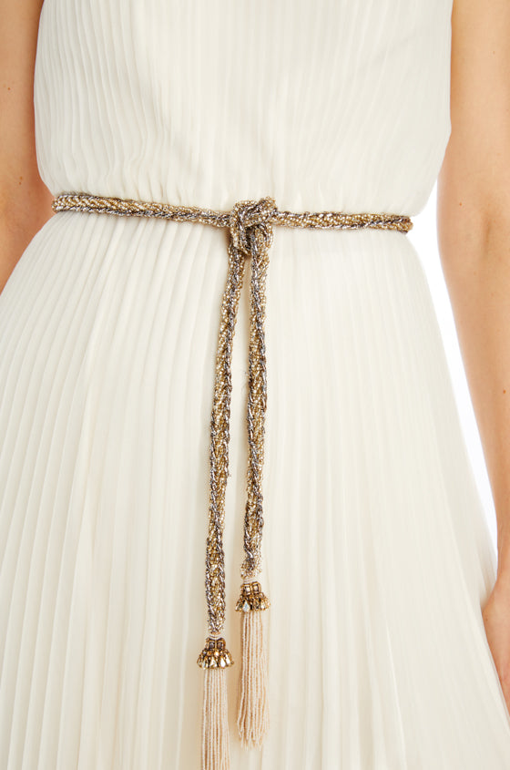 Beaded belt with tassel ends and metallic embroidery