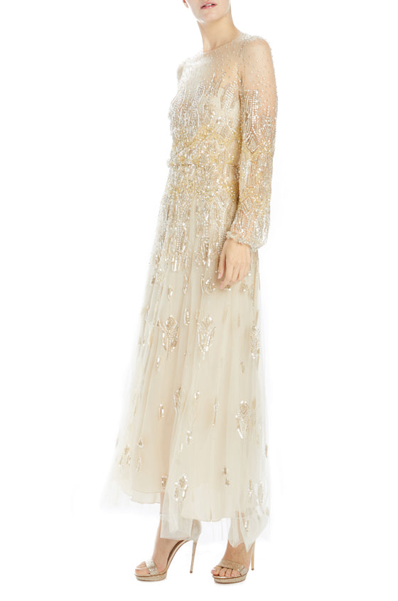 metallic embroidered tulle long sleeve tea length dress