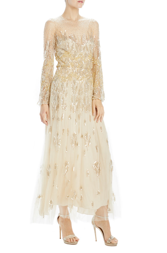 Monique Lhuillier gold embroidered dress with long sleeves