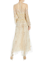 Spring 2020 gold embroidered tea length dress