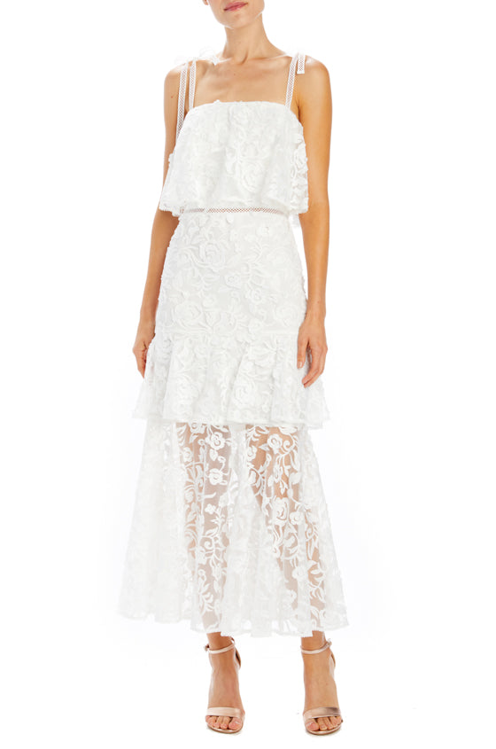 ML Monique Lhuillier White Lace Midi Dress