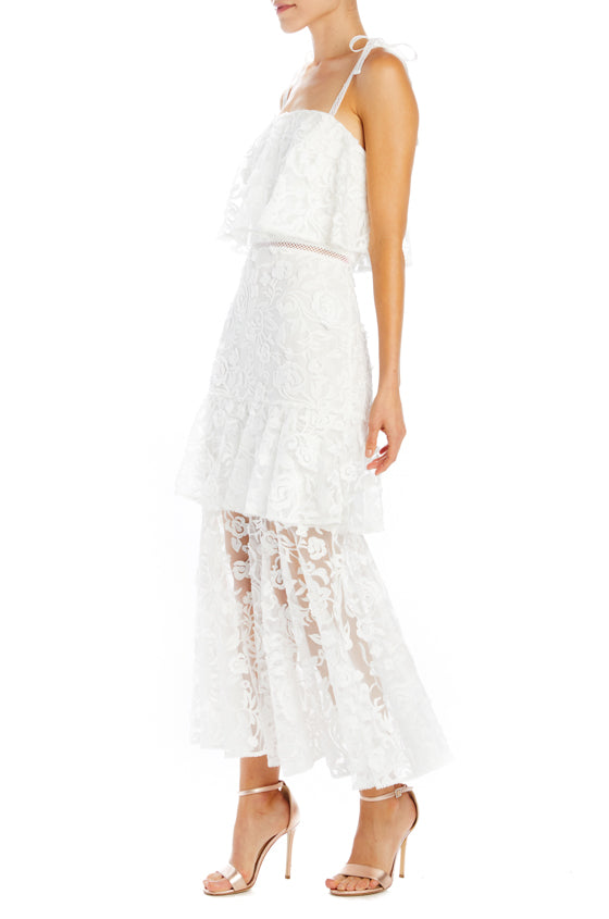 White lace dress with layers and spaghetti straps