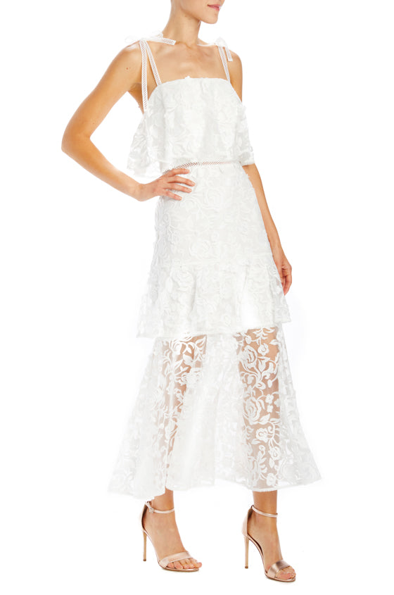 white lace midi dress with layers