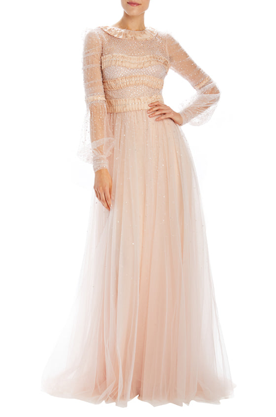 long sleeve gown with ruched bodice detail