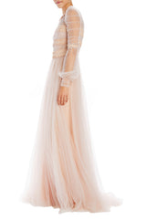 Monique Lhuillier pale pink evening gown