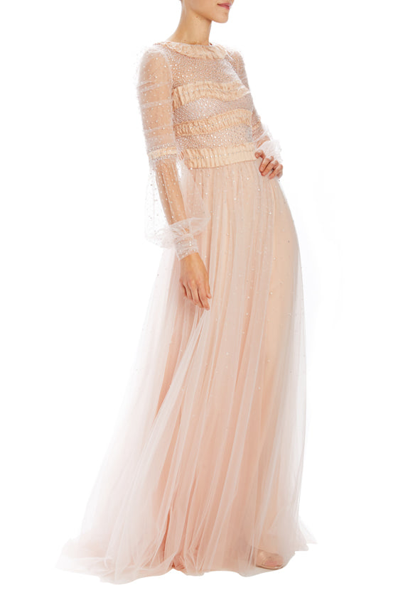 Embroidered tulle evening gown pink