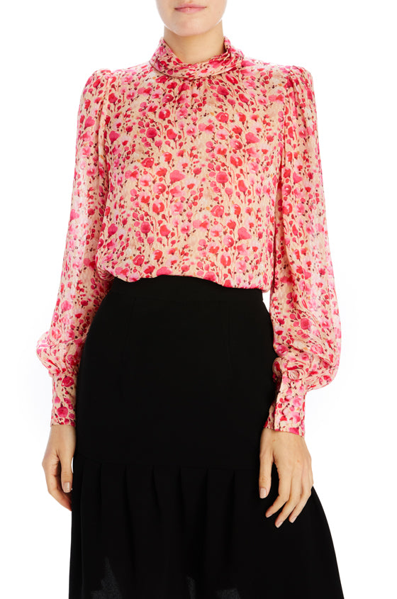 Pink rose floral long sleeve blouse