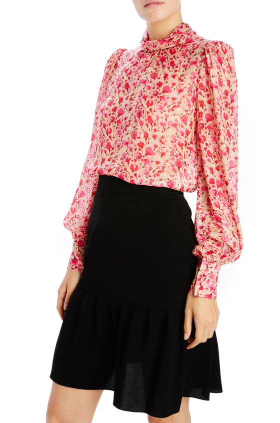 Floral printed clip jacquard long sleeve blouse
