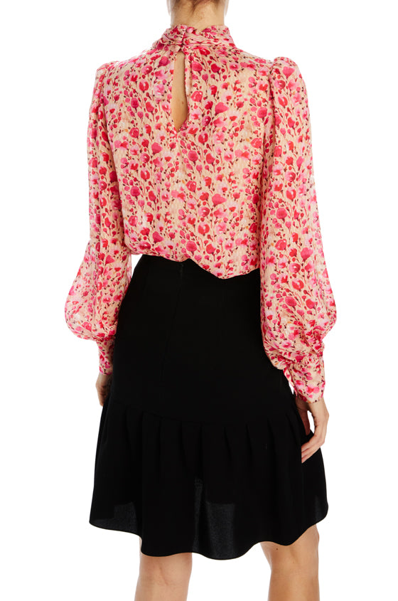 Monique Lhuillier Pink floral blouse