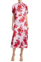 Resort 2020 printed red and pink midi dress