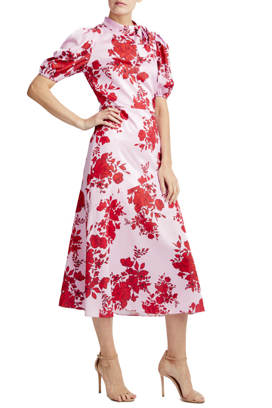 short sleeve midi dress with tie neckline