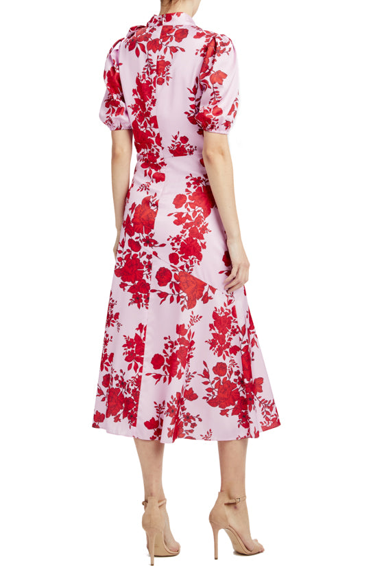 red and pink midi dress with high neck and short sleeves