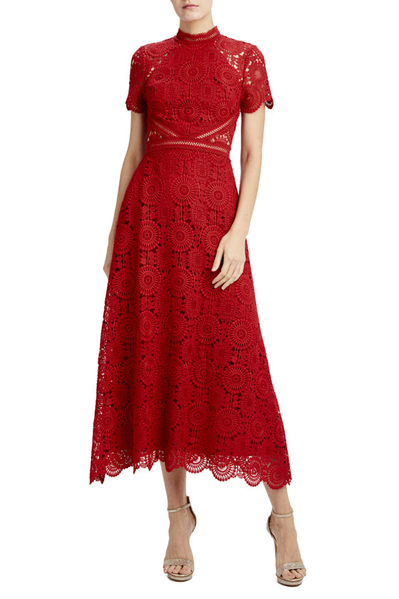short sleeve lace midi dress with scallop hem
