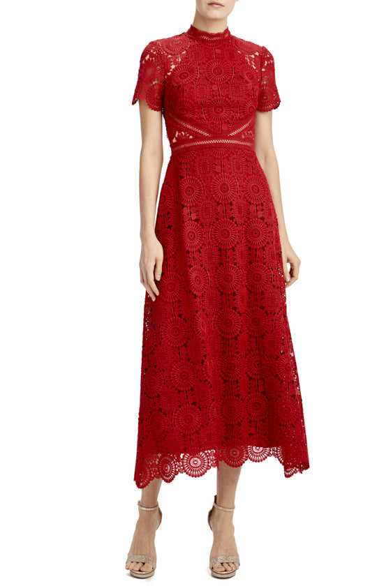 MLML lipstick red lace midi dress with scallop hem