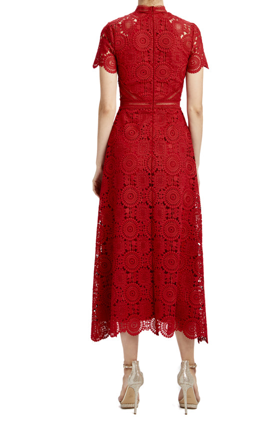 Lipstick red lace midi holiday dress