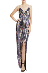 MLML sleeveless floral sequin gown